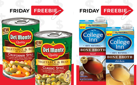 FREE College Inn Bone Broth and Del Monte Vegetable & Bean Blends at Hornbachers, Cub and Shoppers Stores