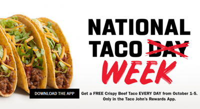 Free Crispy Beef Taco at Taco Johns (Oct 1 to 5)