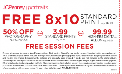 Coupon - Free Standard Print at JC Penny for Military