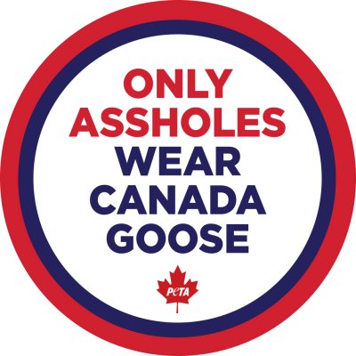 "free ""Only Assholes Wear Canada Goose"" stickers"
