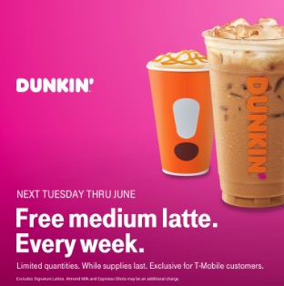Free Medium Latte at Dunkin Donuts