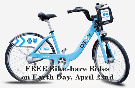 FREE Bikeshare Rides on Earth Day, April 22nd