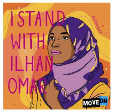 "free ""I Stand With Ilhan"" sticker"