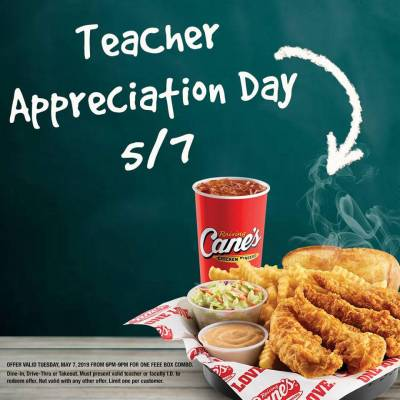 Free Food at Raising Cane's Chicken Fingers on May 7 (for Teachers only)