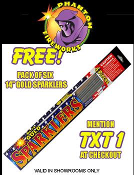 6 FREE Gold Sparklers at Phantom Fireworks Stores