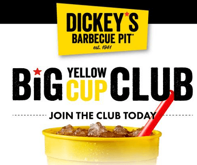 FREE Big Yellow Cup at Dickey's Barbecue Pit