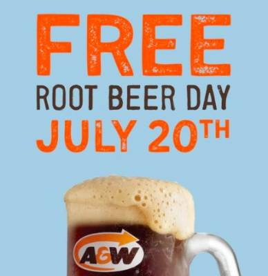 Free Root beer in A&W on July 20