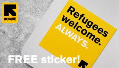 Free Stickers - refugees are welcome here in America