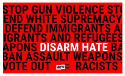 "free ""Disarm Hate"" sticker"