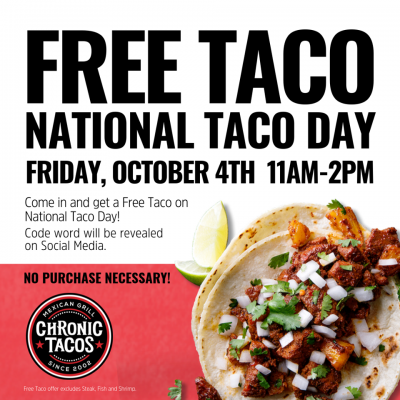Free Tacos at Chronic Tacos (Oct 4)