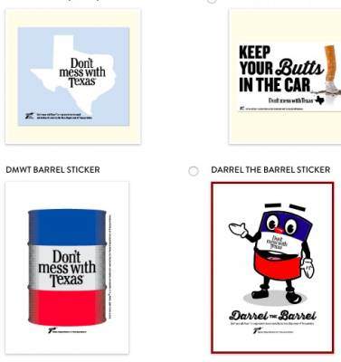 free litter bag and sticker - Don't Mess with Texas (Texas Residents Only)