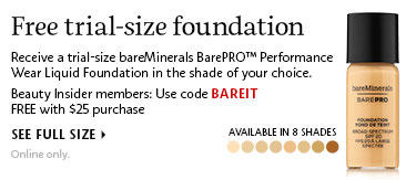 FREE Trial-size Bare Minerals BarePRO Performance wear liquid Foundation