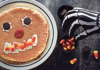 Free Scary Face Pancakes on Halloween