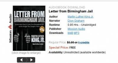 From ChristianAudio: Free Audio Book, Letter from Birmingham Jail, Martin Luther King Jr.