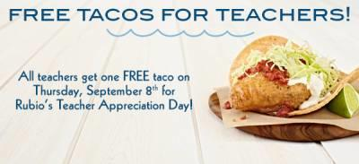 Free Taco for Teachers & Staff at Rubio's on September 8th