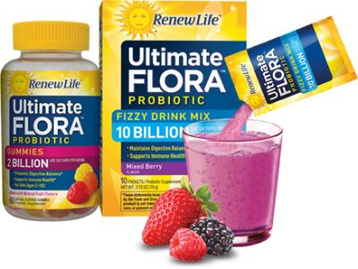 Free Ultimate Flora Probiotic Gummies and Fizzy Drink Mix