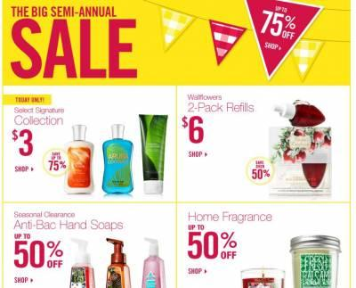 Bath and Body Works Semi-Annual Sale- Up to 75% Off