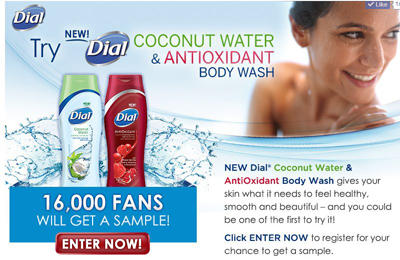 Chance to win a sample of Dial Coconut Water and Antioxidant Body Wash