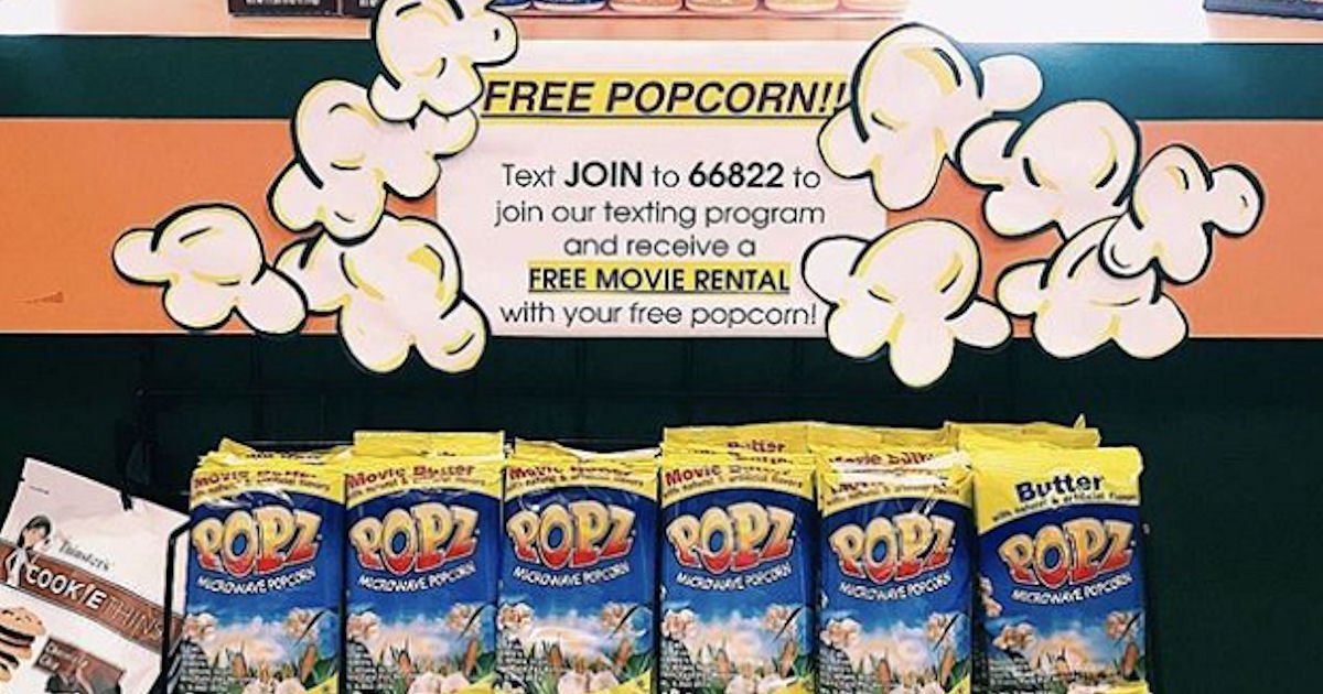 Free Movie Rental & Popcorn at Family Video (Text)