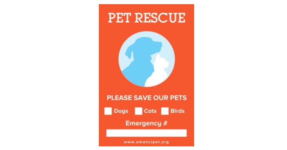 Free Save Our Pets Window Cling