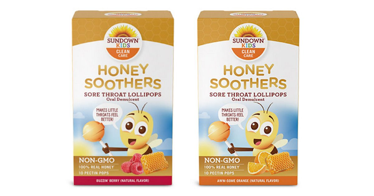 Free Sundown Kids Honey Soothers Sore Throat Lollipops
