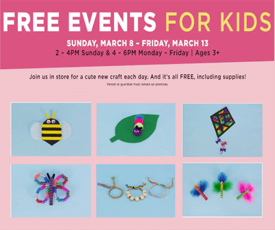 FREE Kids Events at Michaels March 8-13