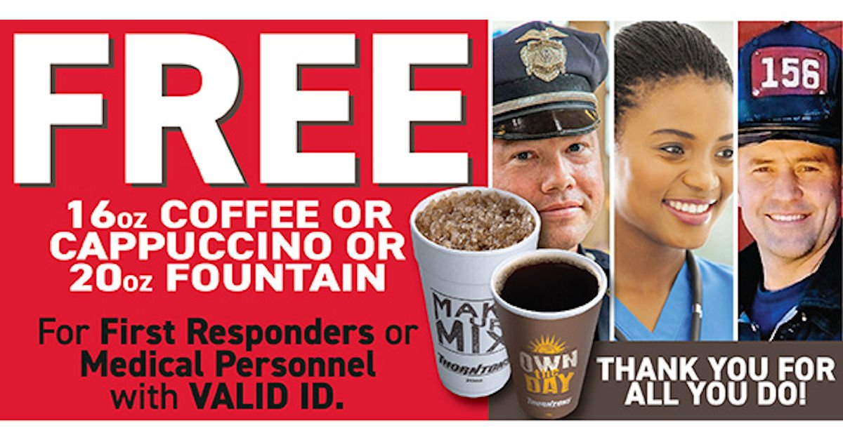 Free Drink for First Responders & Medical Personnel at Thorntons