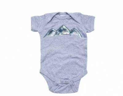 APERICOTS JETSET WANDERLIFE BABY BODYSUIT HEATHER GRAY 6 MONTHS