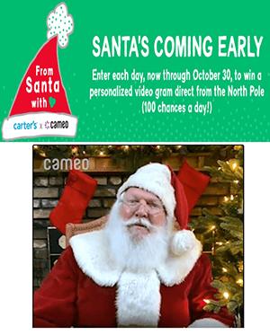 Carter's x Cameo Santa Gram Sweepstakes (1,500 Winners!)