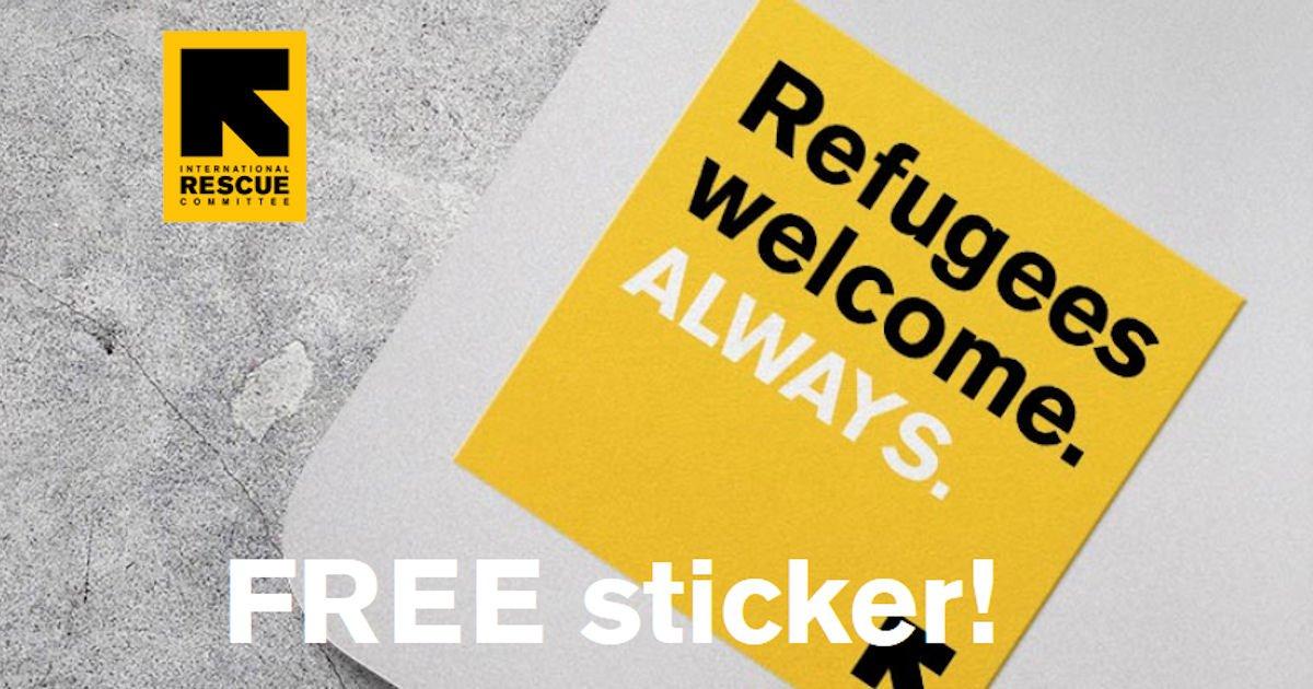 Free Refugees Welcome Always Sticker