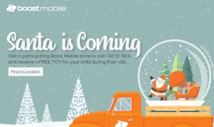 FREE Toy and Picture with Santa at Boost Mobile Stores