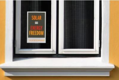 Free Window Cling - SOLAR = ENERGY FREEDOM!