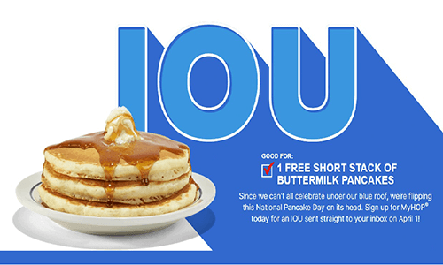 FREE Short Stack of Buttermilk at IHOP – Sign Up Before March 31