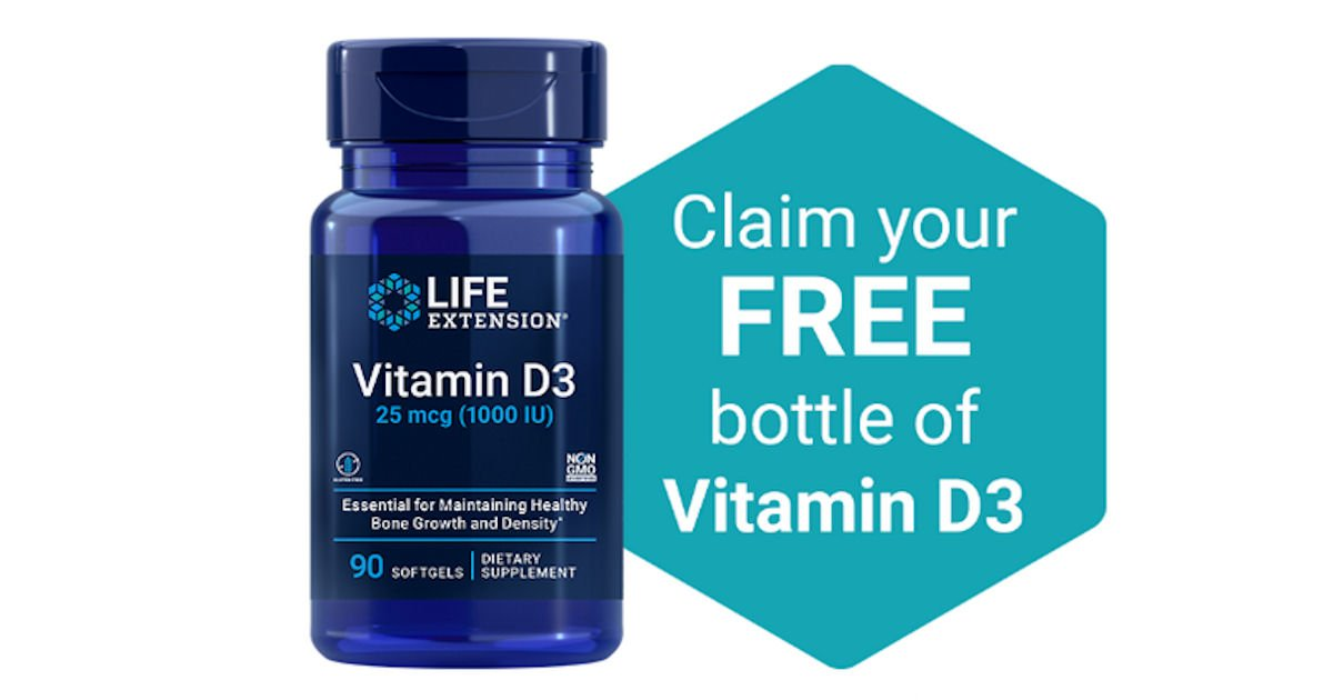 Free Bottle of Life Extension Vitamin D3 - 1st 2,000