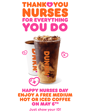 FREE Medium Hot or Iced Coffee at Dunkin' for Healthcare Workers Today (May 6th)