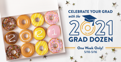 FREE doughnuts at Krispy Kreme on 5/13/21 (For Graduates!)