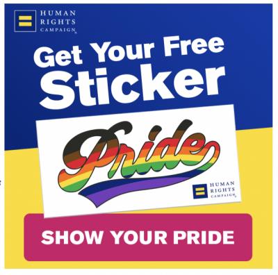 Free HRC Pride Sticker