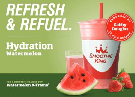 FREE 12 oz Hydration Watermelon or Watermelon X-Treme Smoothie at Smoothie King